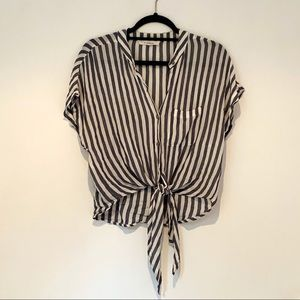 Olivaceous Tie Front Top